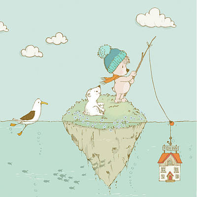 Art Print featuring the painting Cute Little Bear Goes Fishing by Matthias Hauser