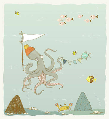 Painting - Cute Octopus Whimsical Art For Kids by Matthias Hauser