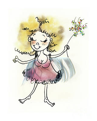 Fantasy Drawings - Cute pink fairy by Angel Ciesniarska