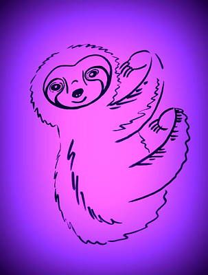 Royalty-Free and Rights-Managed Images - Cute Sloth drawing by Cathy in PInk and purple by Cathy Jacobs