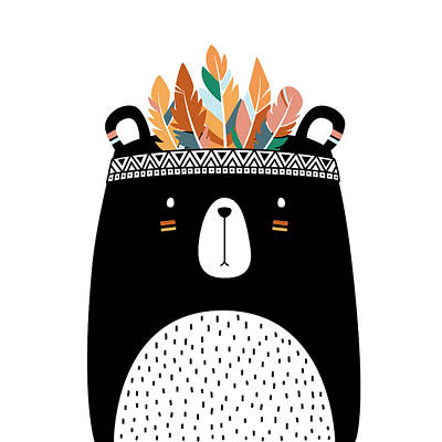 Drawing - Cute Tribal Bear - Boho Chic Ethnic Nursery Art Poster Print by Dadada Shop