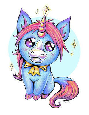 Drawing - Cute Unicorn I by Sipporah Art and Illustration