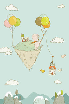 Drawing - Cute Whimsical Bear Fishing In The Sky by Matthias Hauser