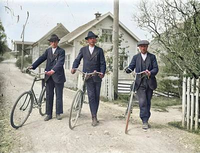 Fall Animals - Cyclists, Teigen, Forde. ca. 1915 colorized by Ahmet Asar by Ahmet Asar
