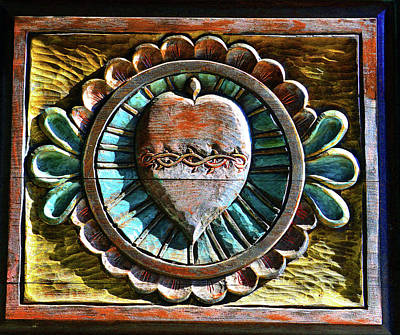 Music Figurative Potraits - Church door Heart wood carving 1800s by David Lee Thompson