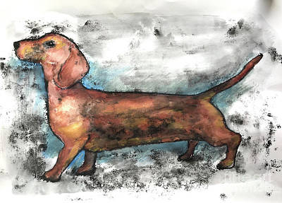 Painting - Dachshund 2018 by Sarah Thompson-Engels