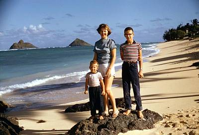 Painting - Dad And Kids  Kaul Beach Red Kodachrome Slides From The 1950 2 by Celestial Images