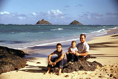 Painting - Dad And Kids  Kaul Beach Red Kodachrome Slides From The 1950 by Celestial Images
