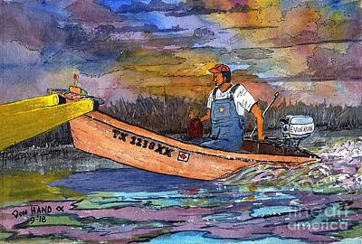 Flounder Painting - 1960's Dad N Daughter by Don Hand