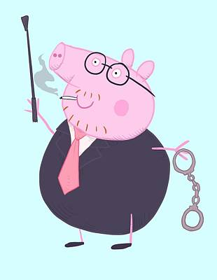 Drawing - Daddy Pig by Ludwig Van Bacon