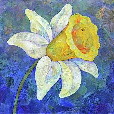 Jacob Kuch Vintage Art On Dictionary Paper - Daffodil Festival I by Shadia Derbyshire
