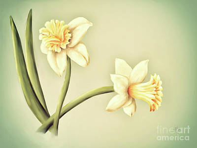 Digital Art - Daffodils by Lois Bryan