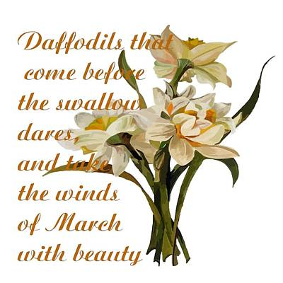 Painting - Daffodils That Come Shakespearian Quote by Taiche Acrylic Art