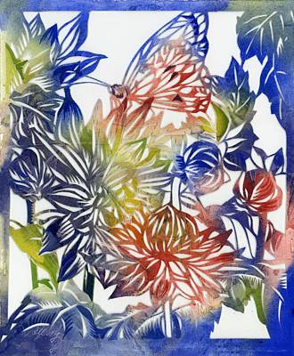 Painting - Dahlia With Butterfly Paper Cut by Alfred Ng