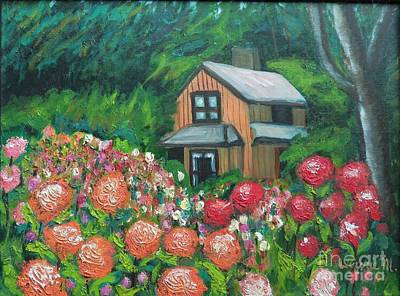 Painting - Dahlias In The Woods by Laurie Morgan