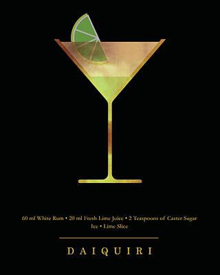 Digital Art - Daiquiri Cocktail - Classic Cocktails Series - Black and Gold - Modern, Minimal Decor by Studio Grafiikka