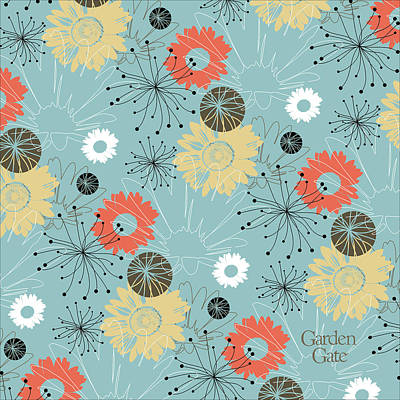 Digital Art - Daisy Pattern With Logo by Garden Gate magazine