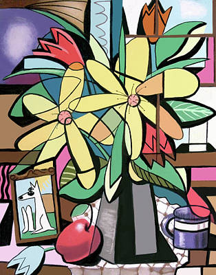 Painting - Daisy's And Tulips by Anthony Falbo