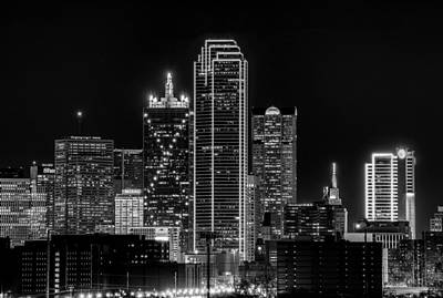 Photograph - Dallas Black And White Skyline At Night by Dan Sproul
