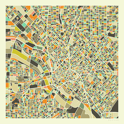 Dallas Wall Art - Digital Art - Dallas Map 1 by Jazzberry Blue