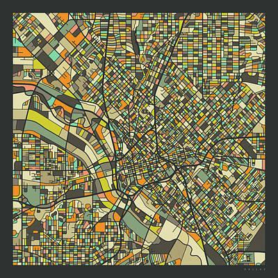 Dallas Wall Art - Digital Art - Dallas Map 2 by Jazzberry Blue