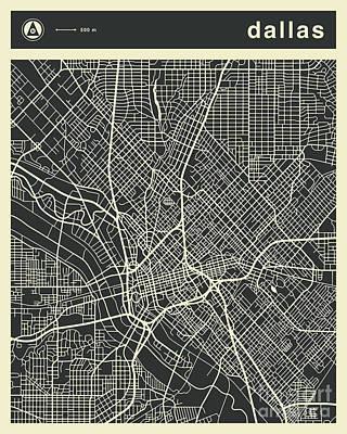Dallas Wall Art - Digital Art - Dallas Map 3 by Jazzberry Blue