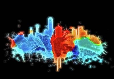 Digital Art - Dallas Neon Color Blast by Dan Sproul