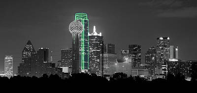 Photograph - Dallas Skyline Green 120318 by Rospotte Photography