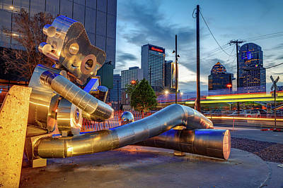 Photograph - Dallas Skyline And Traveling Man Waiting On A Train by Gregory Ballos