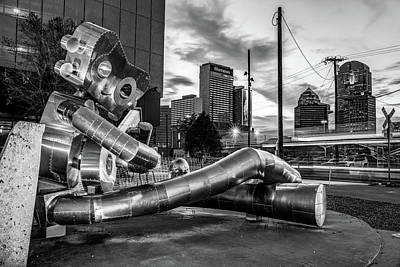 Photograph - Dallas Skyline And Traveling Man Waiting On A Train - Monochrome Edition by Gregory Ballos