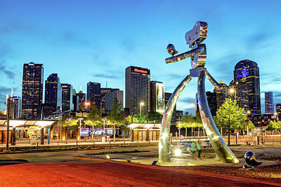 Photograph - Dallas Skyline And Walking Tall Traveling Man At Dusk by Gregory Ballos