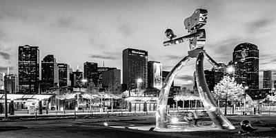 Photograph - Dallas Skyline And Walking Tall Traveling Man Panorama - Monochrome Infrared Edition by Gregory Ballos