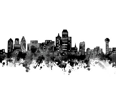 Abstract Skyline Royalty-Free and Rights-Managed Images - Dallas Skyline Bw by Bekim M
