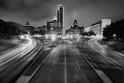 Photograph - Dallas Skyline Over Dealey Plaza - Black And White Edition by Gregory Ballos