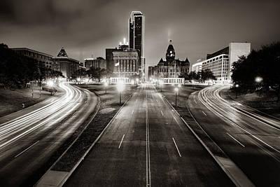 Photograph - Dallas Skyline Over Dealey Plaza - Sepia Edition by Gregory Ballos
