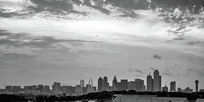 Photograph - Dallas Skyline Panoramic Monochrome by Gregory Ballos