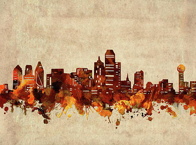 Abstract Skyline Royalty-Free and Rights-Managed Images - Dallas Skyline Sepia by Bekim M