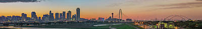 Photograph - Dallas Skyline Texas Panoramic At Dawn by Gregory Ballos