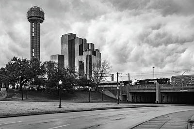 Photograph - Dallas Texas Dealey Plaza And Reunion Tower - Monochrome by Gregory Ballos