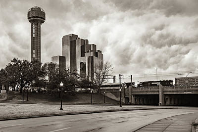 Photograph - Dallas Texas Dealey Plaza And Reunion Tower - Sepia by Gregory Ballos