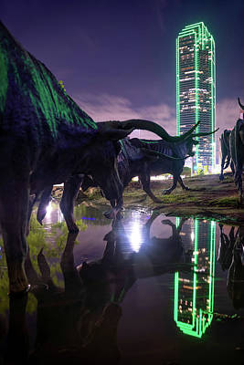 Photograph - Dallas Texas Longhorn Cattle Drive Sculptures And Skyline Reflections by Gregory Ballos