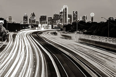 Photograph - Dallas Texas Sepia Skyline At Dawn - Cityscape Architecture by Gregory Ballos