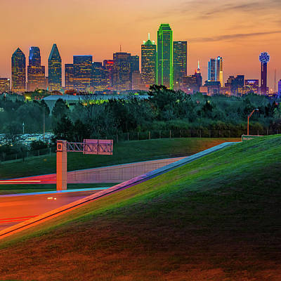 Photograph - Dallas Texas Skyline Before Sunrise - Square Edition by Gregory Ballos