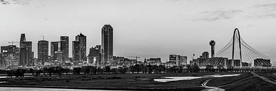 Photograph - Dallas Texas Skyline Early Morning Panoramic Cityscape - Monochrome by Gregory Ballos
