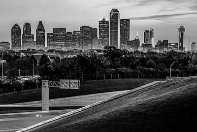 Photograph - Dallas Texas Skyline Morning View - Monochrome by Gregory Ballos