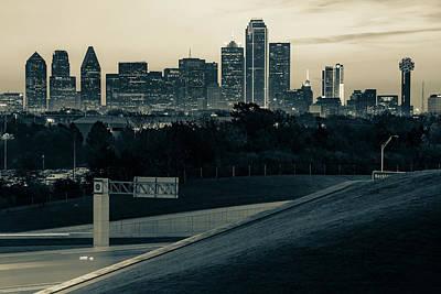 Photograph - Dallas Texas Skyline Morning View - Sepia by Gregory Ballos