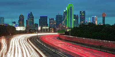 Royalty-Free and Rights-Managed Images - Dallas Texas Skyline Panoramic With Light Trails by Gregory Ballos