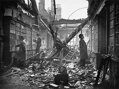 England Photograph - Damaged Library by Central Press
