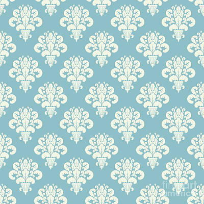 Digital Art - Damask Powder Blue Floral by Sharon Mau