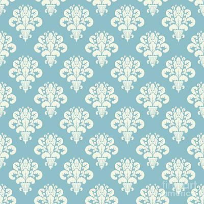 Aretha Franklin - Damask Powder Blue Floral by Sharon Mau
